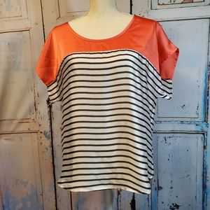 Boston Proper Summer Top Size 6 Stripes Silky Soft